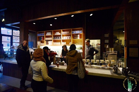 Get a delicious cup of coffee at the New York Blue Bottle Coffee Bar