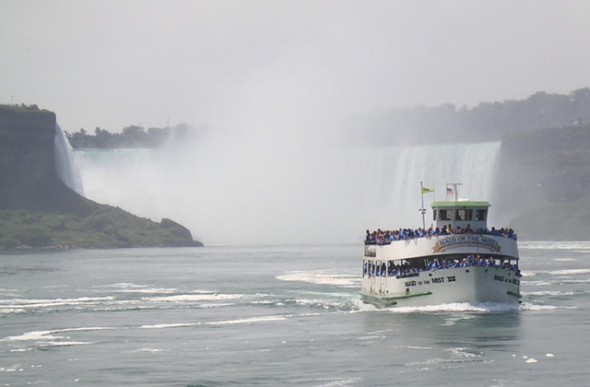 Maid of the Mist: the boat approaching very closely to Niagara Falls