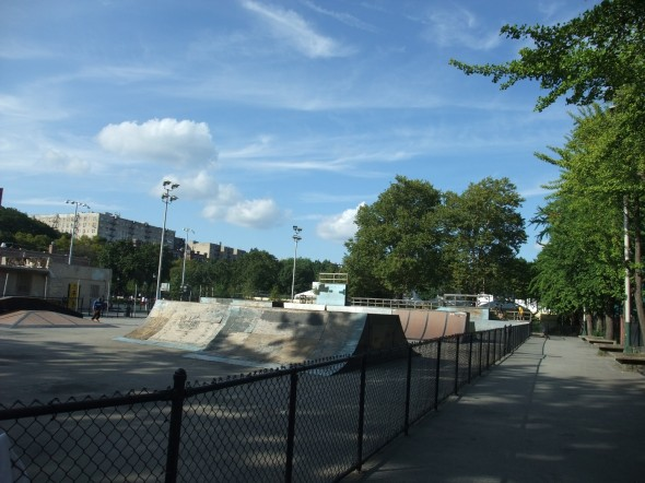 Mullaly Skatepark in the Bronx (steps away from the Yankee Stadium)