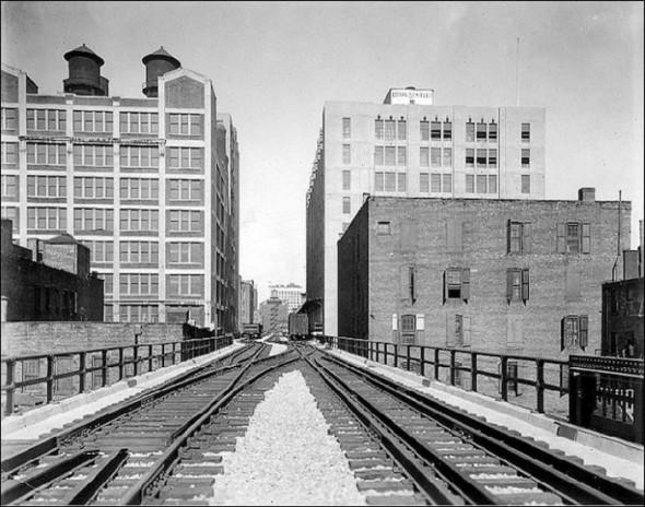 Lower East Side elevated railroad in the 1930-40's